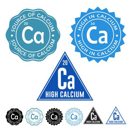 Excelente fuente de calcio, alto contenido de calcio y de alta de calcio Sellos iconos con variación en septiembre