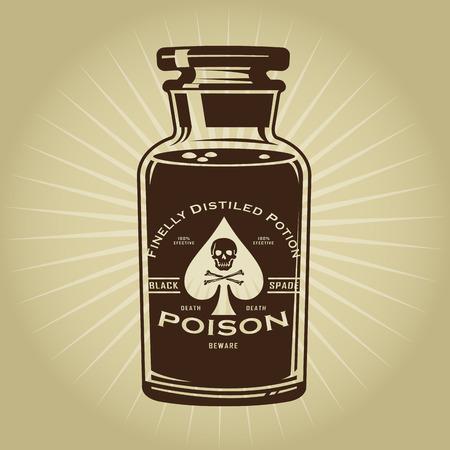 毒の図のヴィンテージのレトロなボトル