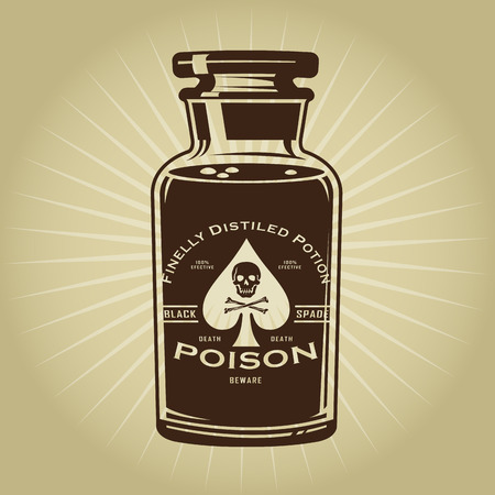 toxic substance: Vintage Retro Bottle of Poison Illustration