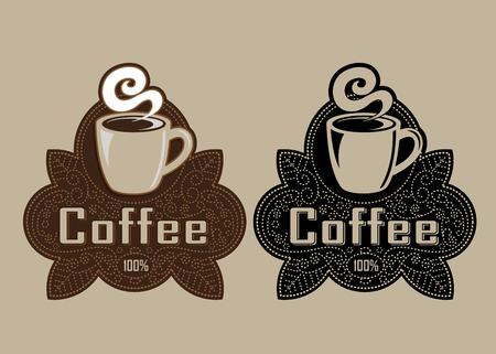 Retro Vintage Coffee Seal Stock Illustratie