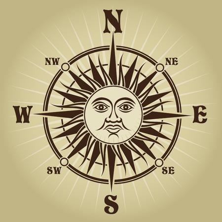 Retro Vintage Compass Rose Illustration