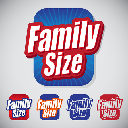 boxed: Family Size Icon Seal with style and variations Color Illustration