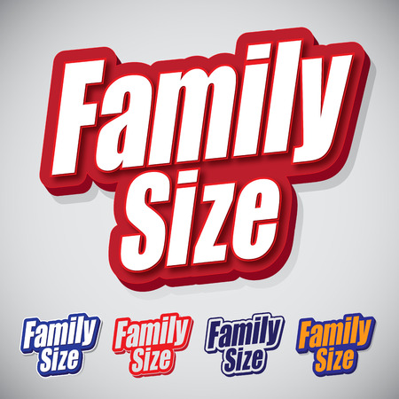 alimentation: Family Size Text Seal with style and variations Color