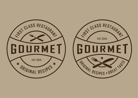 fork knife: Vintage Retro Gourmet Seals