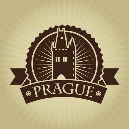 czech: Vintage Retro Prague Seal Illustration