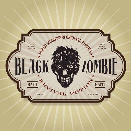 elixir: Vintage Retro Negro Zombie Revival Poción Label