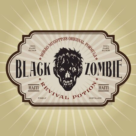 Vintage Retro Black Zombie Revival Potion Label