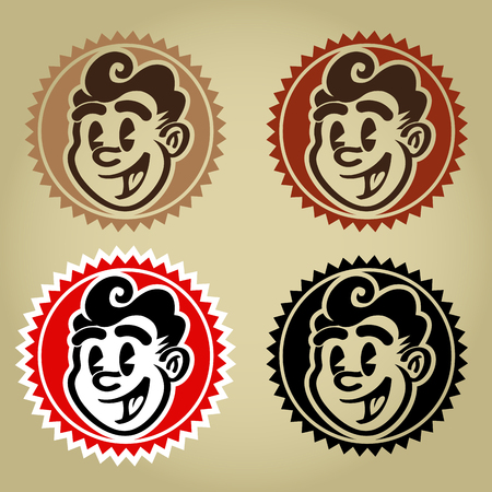 Vintage Retro Character Face Seals Stock Illustratie
