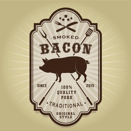 Vintage Retro Smoked Bacon Label