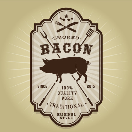 Vintage Retro Smoked Bacon Label