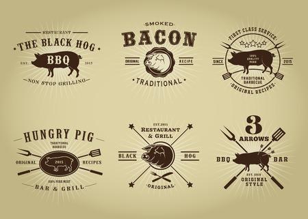 ヴィンテージ レトロな豚バーベキュー レストラン シール コレクション  イラスト・ベクター素材