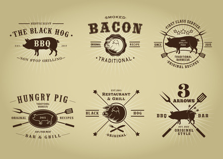 pig roast: Vintage Retro Pork Barbecue Bar Restaurant Seals Collection Illustration