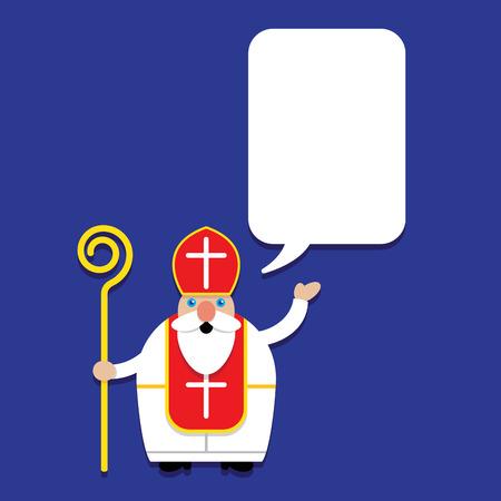 sinterklaas: Saint Nicholas Svaty Mikulas with Talking Bubble Illustration