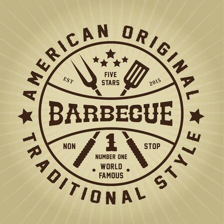 Barbecue American Original Traditional Style Seal Stock Illustratie