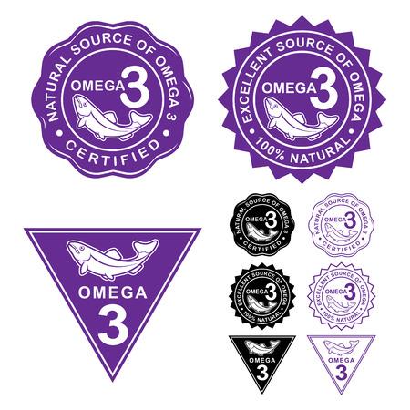 SELLOS: Omega 3 Certificado Sellos iconos Asiento Vectores