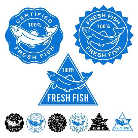 sea mark: Fresh Fish Certified Seals Icons Set