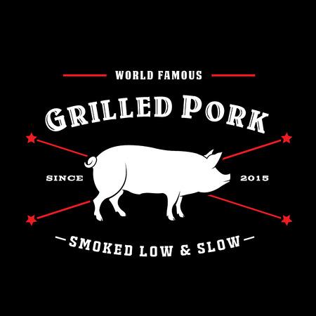Vintage Retro Grilled Pork Smoked Low  Slow Seal Logo Stock Illustratie