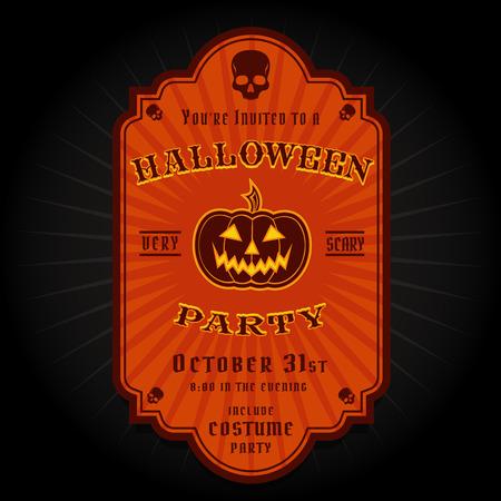 Vintage Retro Halloween Party Invitation Label