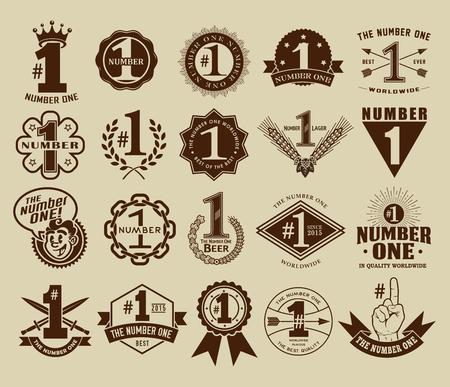 jeden: Vintage Retro číslo jedna 1 Těsnění a odznaky sbírka