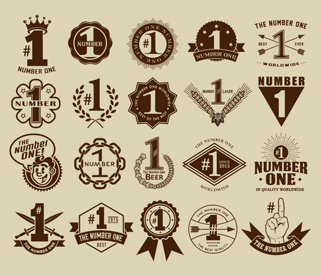 1: Vintage Retro The Number One  1 Seals and Badges Collection