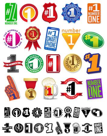 numero uno: El número uno 1 Gran Sellos y Placas Colección Vectores