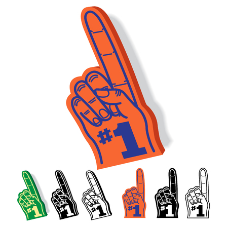 fingers: Foam Hand Finger Number One 1 Illustration Set