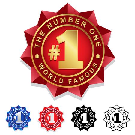 numeros: El número uno 1 Seal Badge