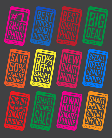 Smartphone Offer and Promotion Seals Badges Icons