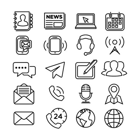 Contact us line icons for web and mobile app Ilustracje wektorowe