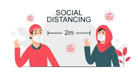 Social distancing hijab moslem concept illustration Free Vector Illustration