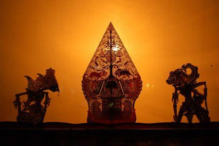 Wayang kulit; shadow puppets show in Jogjakarta, Java, Indonesia photo