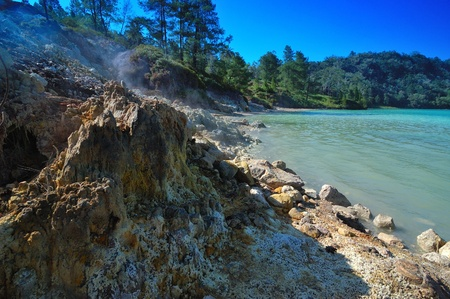 crater lake: Sulfurous steam at Lake Linow, a changing color lake in Tomohon, North Sulawesi, Indonesia