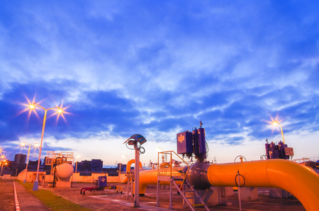naphtha: Gas pipeline at night Stock Photo
