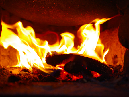 gas fireplace: Fire and ember Stock Photo