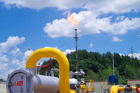 Gaz de pétrole en feu Banque d'images - 76028774
