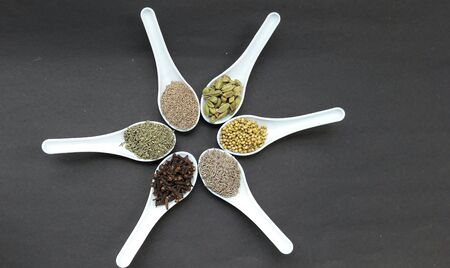 indian spices fennel seeds , carom seed, cardamom,cumin seeds, coriander seed ,clove isolated on black background