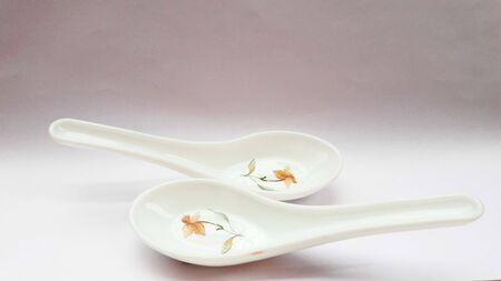 crockery spoon isolated on white background close image