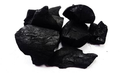 natural wood charcoal isolated on white background image