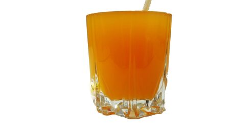 orange juice glass isolated on white background with text space