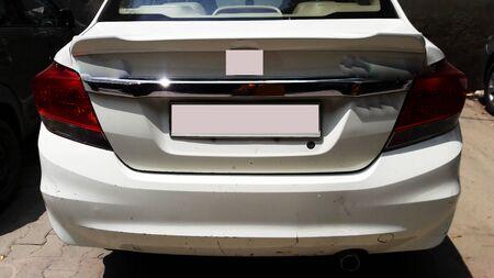 white car backside closeup image