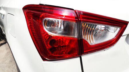 white car back light closeup image