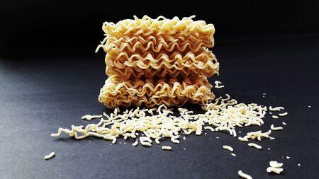 raw noodle isolated on black background