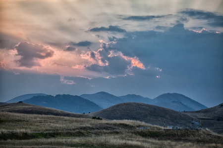 abruzzo: Landscape near S Stefano di Sessanio -L Aquila abruzzo italy Stock Photo
