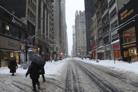 Broadway, New York City, Manhattan snow storm February 26 2010