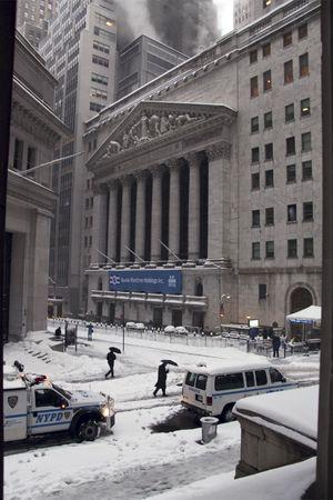 Wall street, stock market, New York City, Manhattan snow storm February 26 2010