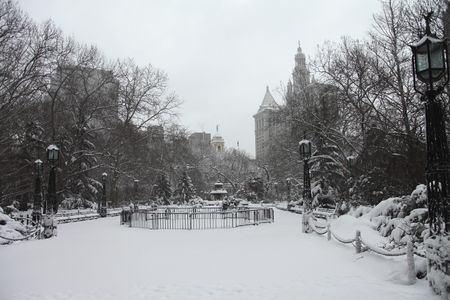 Broadway City Hall, New York City, Manhattan snow storm February 26 2010