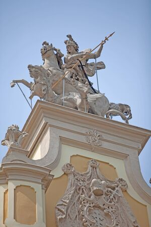 uomo a cavallo: architectural element of the cathedral - horseman is struggling with a dragon