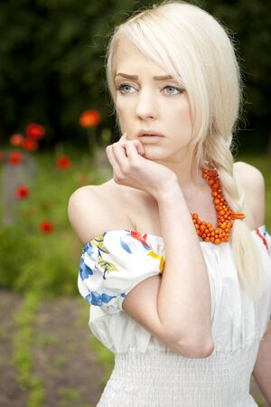 professionally: Professionally retouched  Outdoor photo of rural woman in traditional ukrainian sundress