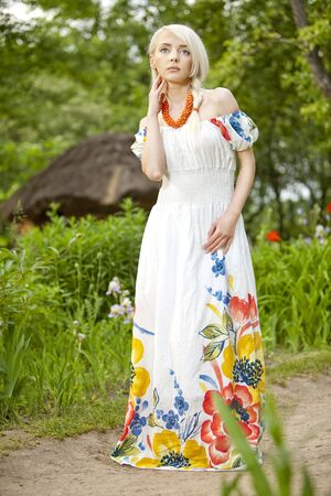 professionally: 21 Mpix full-frame HD-capture  Professionally retouched  young rural woman at the garden