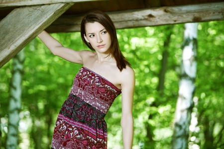 sundress: outdoor portrait of young woman in sundress Stock Photo
